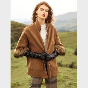 Boho Faux Fur Camel Coat Jacket